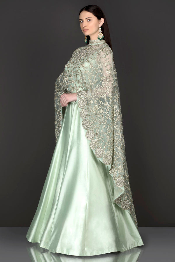 Mint Green Net Cape With Silk Anarkali/Gown