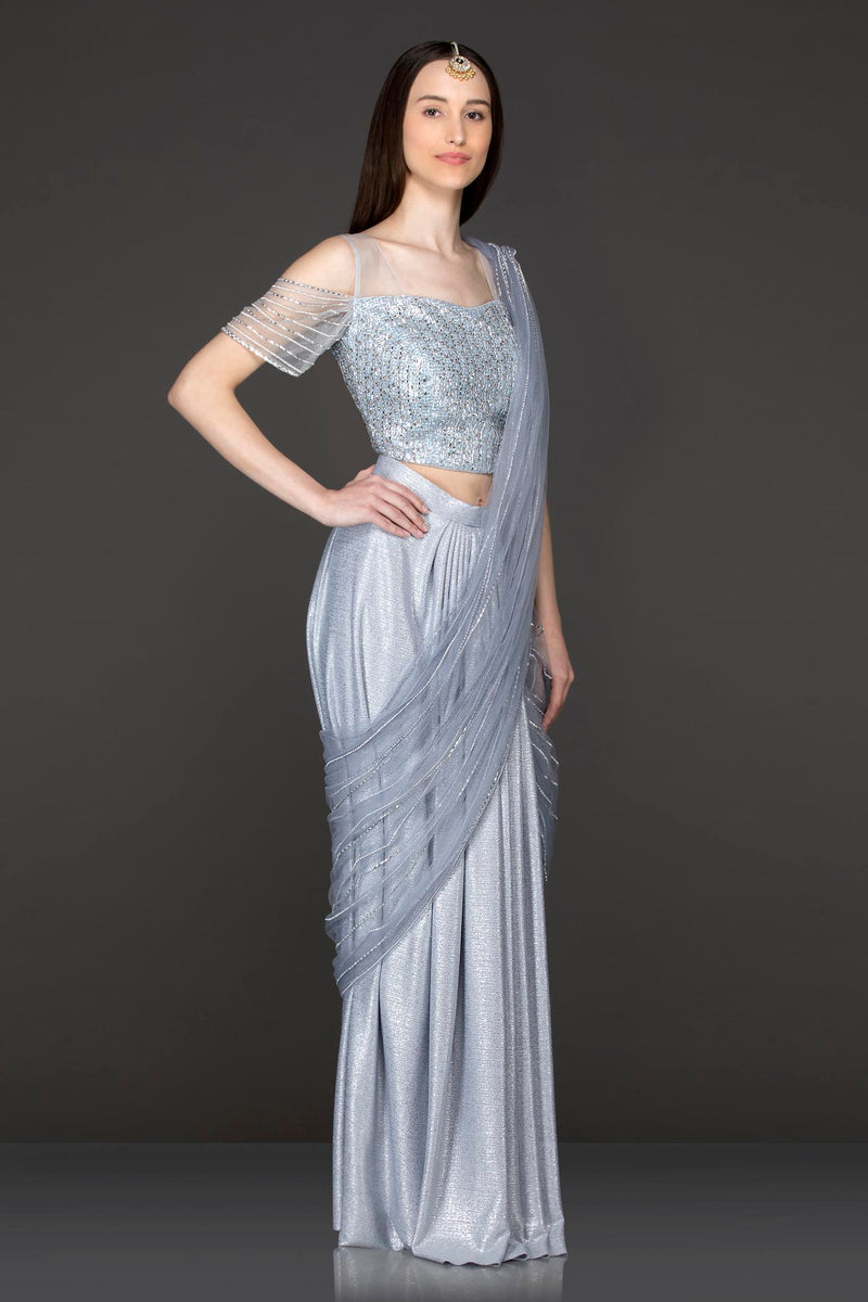 Grey Colour Shimmer Lycra Ready Made Saree With Net Grey Top