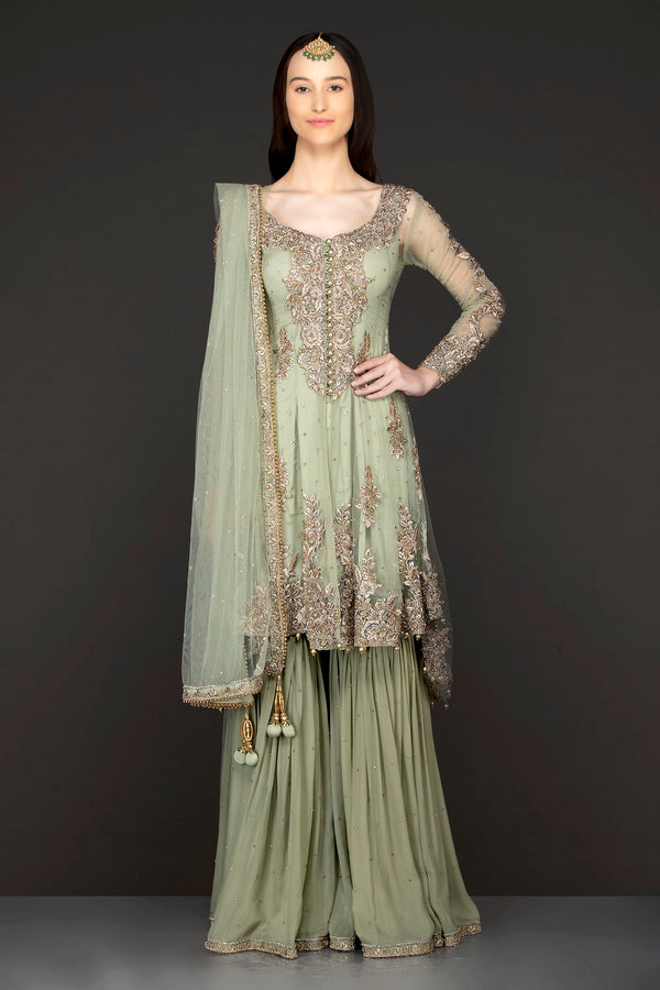 Mint Green Asymmetrical Peplum Top With Silk Inner And Georgette Sharara