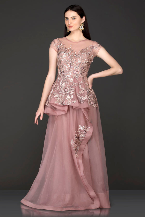 1e62fc454cf ... Mauve Colour One Piece Dress With Peplum Pleates On The Top Part Of The  Dress