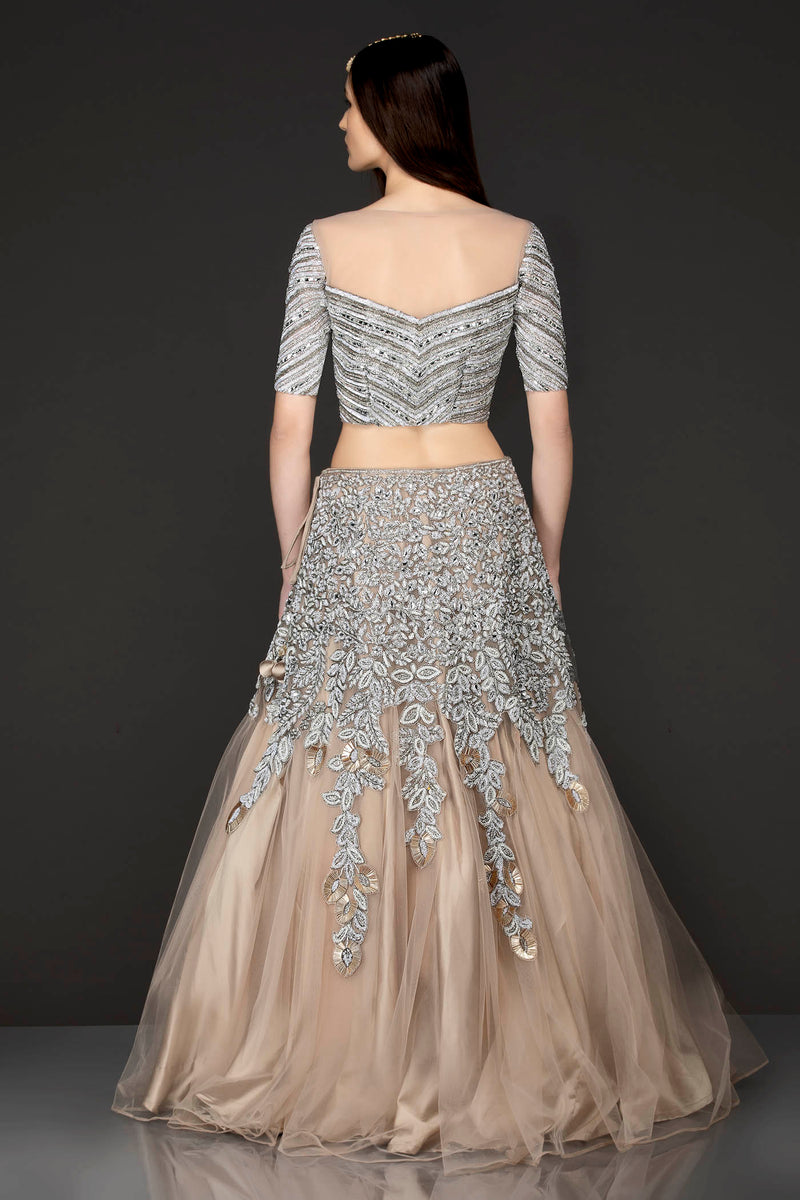 Beige Gold Net Skirt Top With Heavy Embellishment Of Thread/Badla/Stone Embroidery