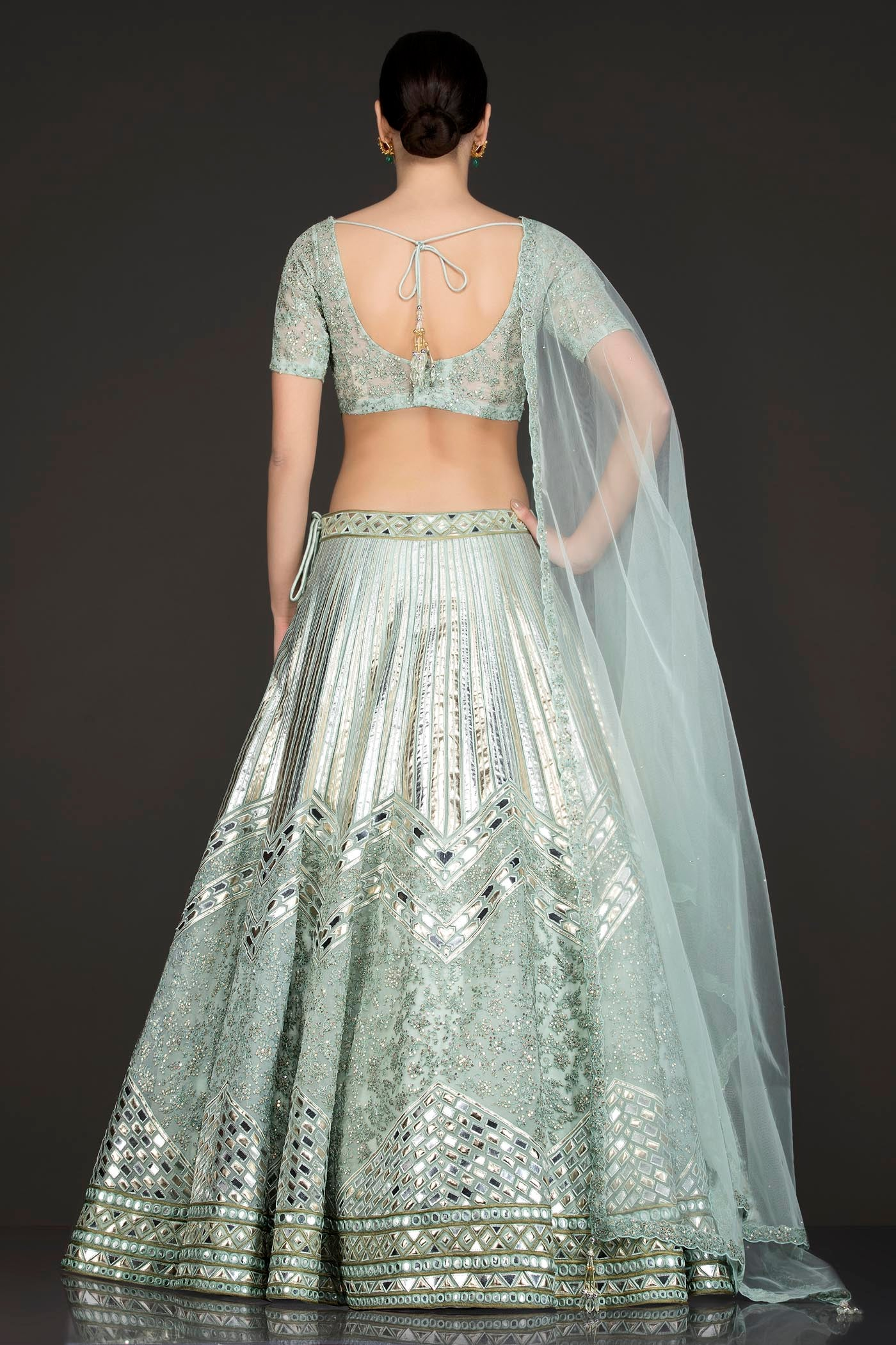 Mint Green Net Skirt/Lehenga/Dupatta With Leather Patch Embroidery