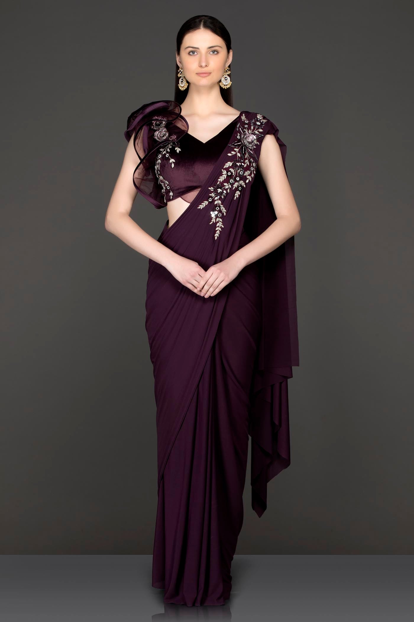 Wine Lycra Readymade Saree