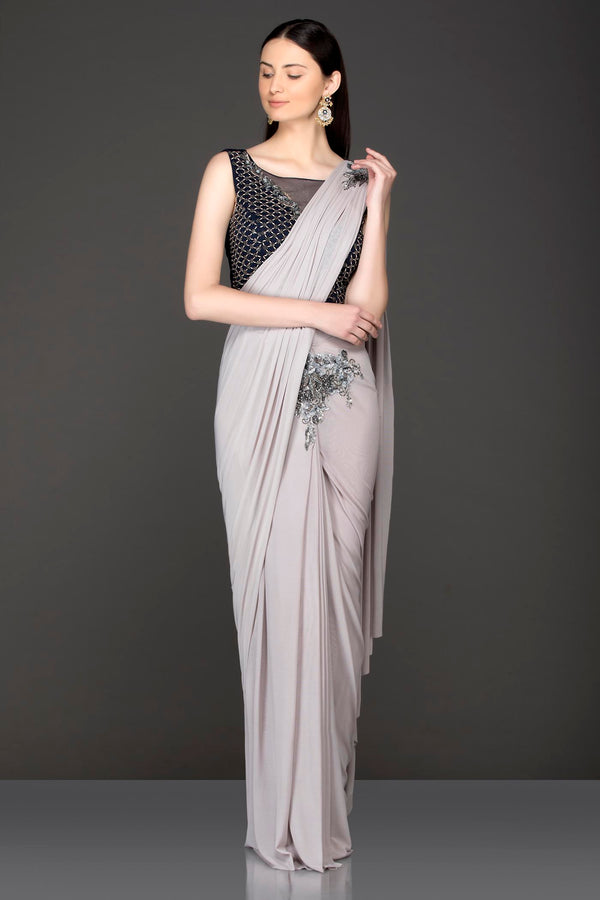 Grey Lycra Ready Pleated Saree With Black Velvet Blouse