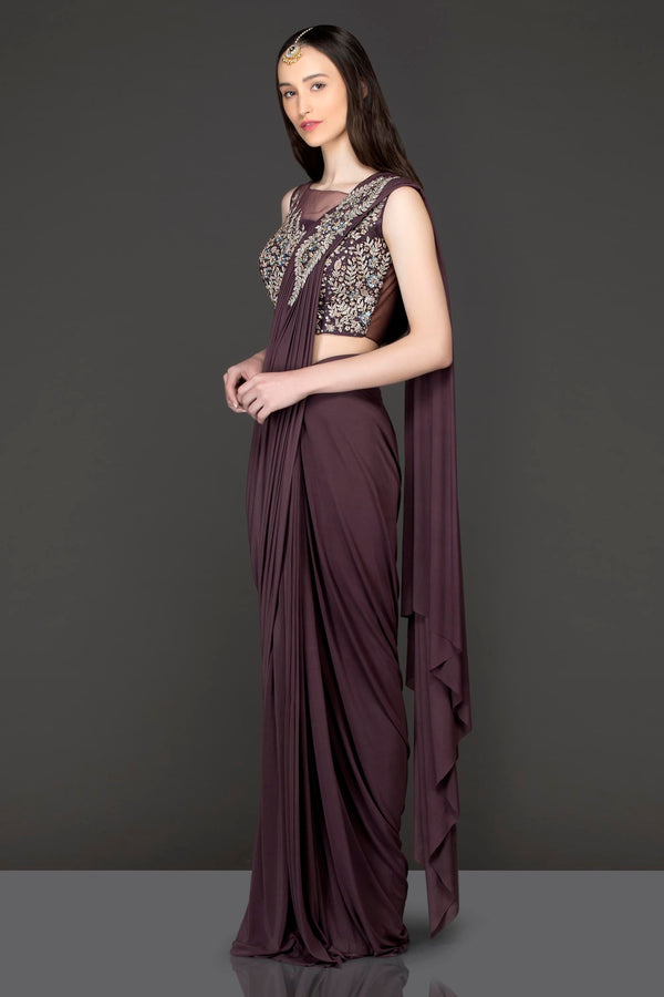 Wine Colour Lycra Readymade Saree With Net Blouse And Silver Dabka