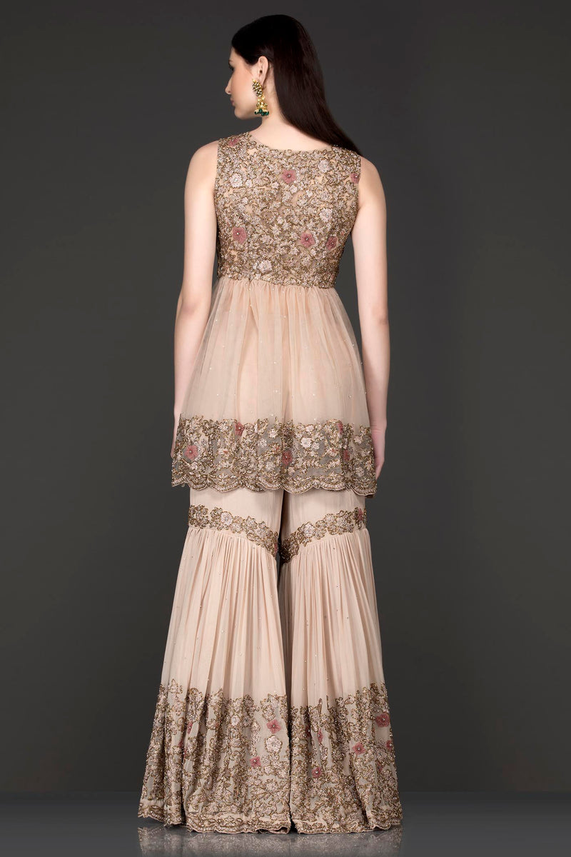 Nude Peplum Net Top With Georgette Sharara And Net Dupatta