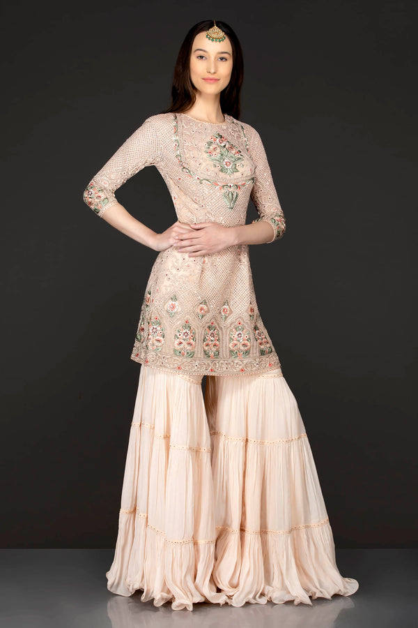 Peach Colour Kameez With Frill Sharara And Net Dupatta