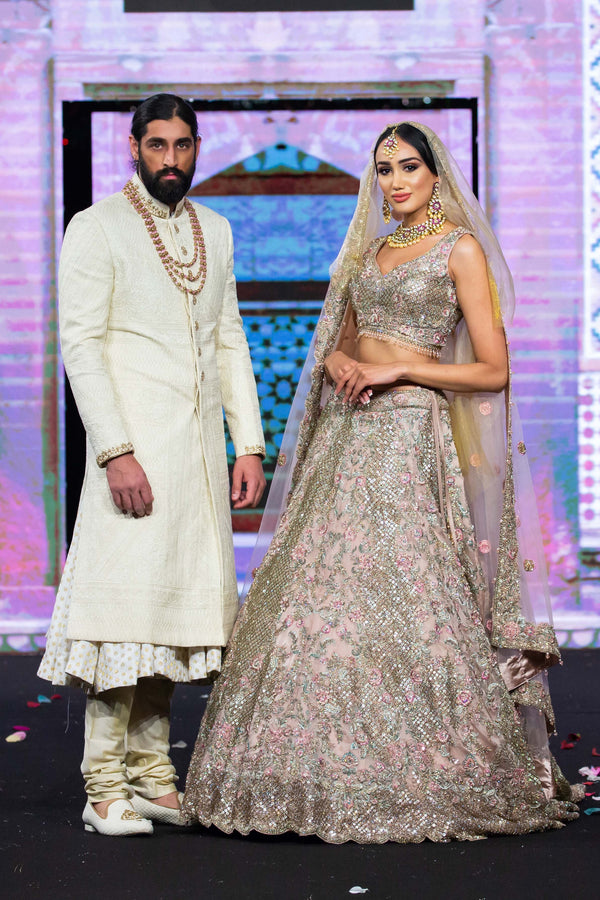 Blush Pink Bridal and Ivory Sherwani Pair