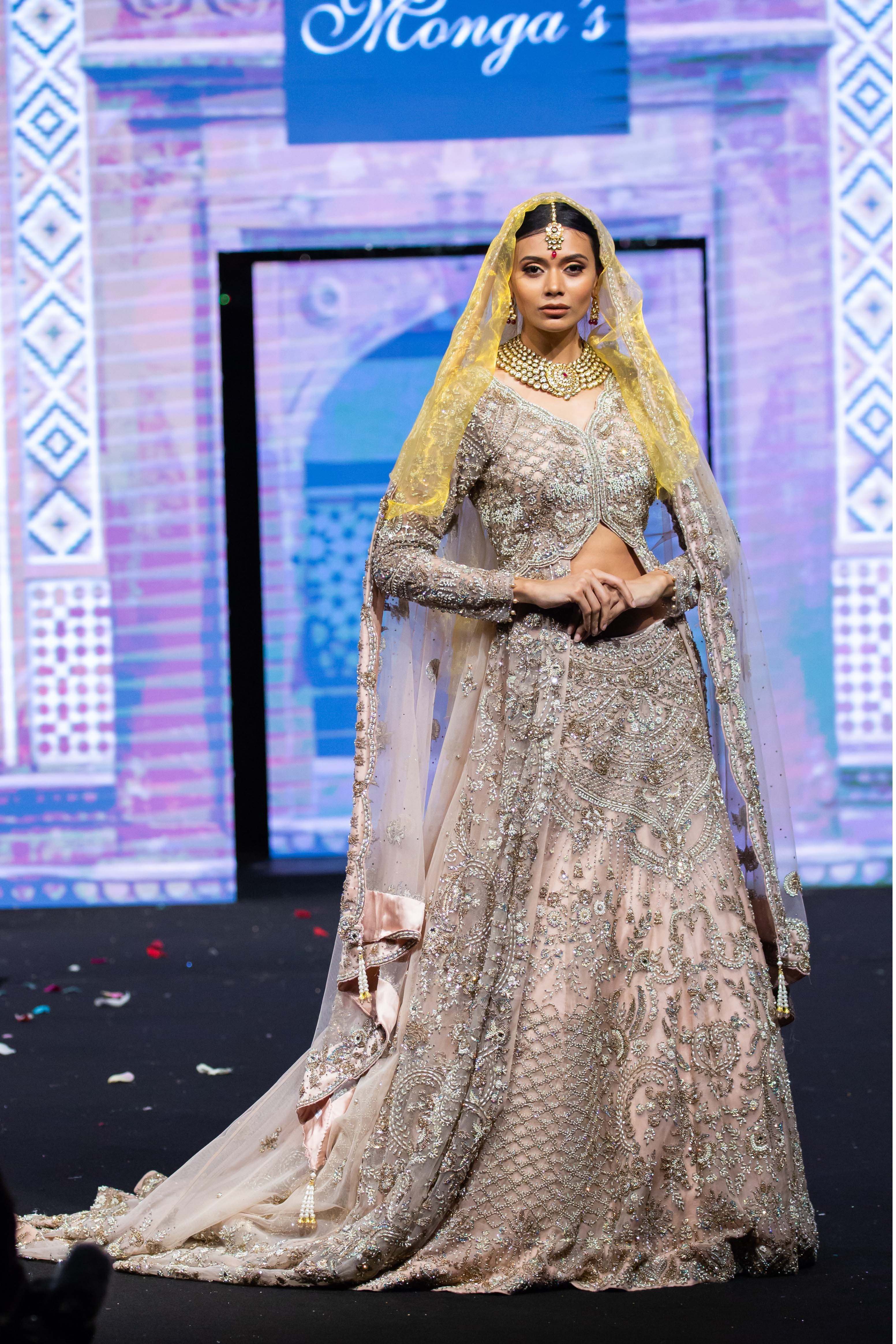 Bridal Jacket Lehenga with Trail
