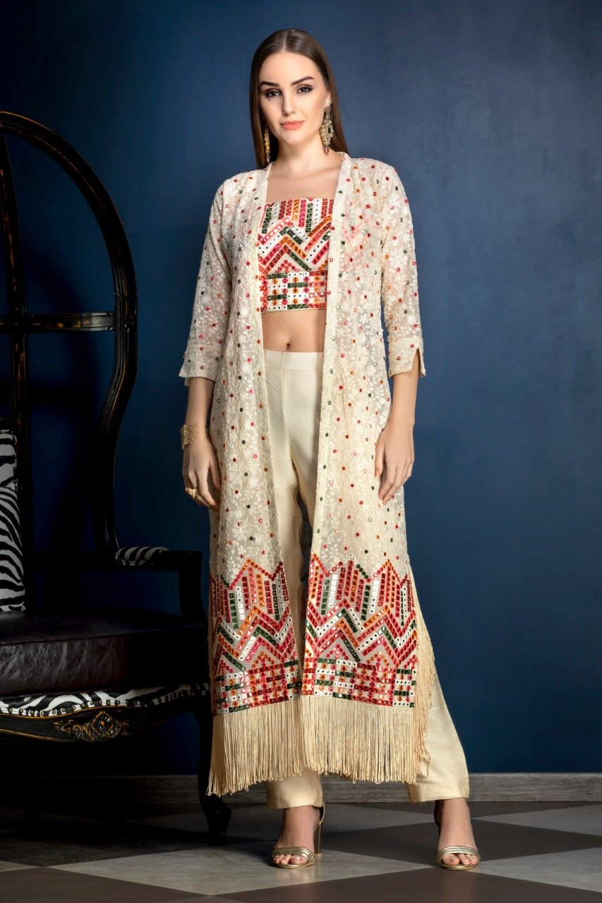 Multicolor threadwork Ivory Crop top and Pants with Jacket