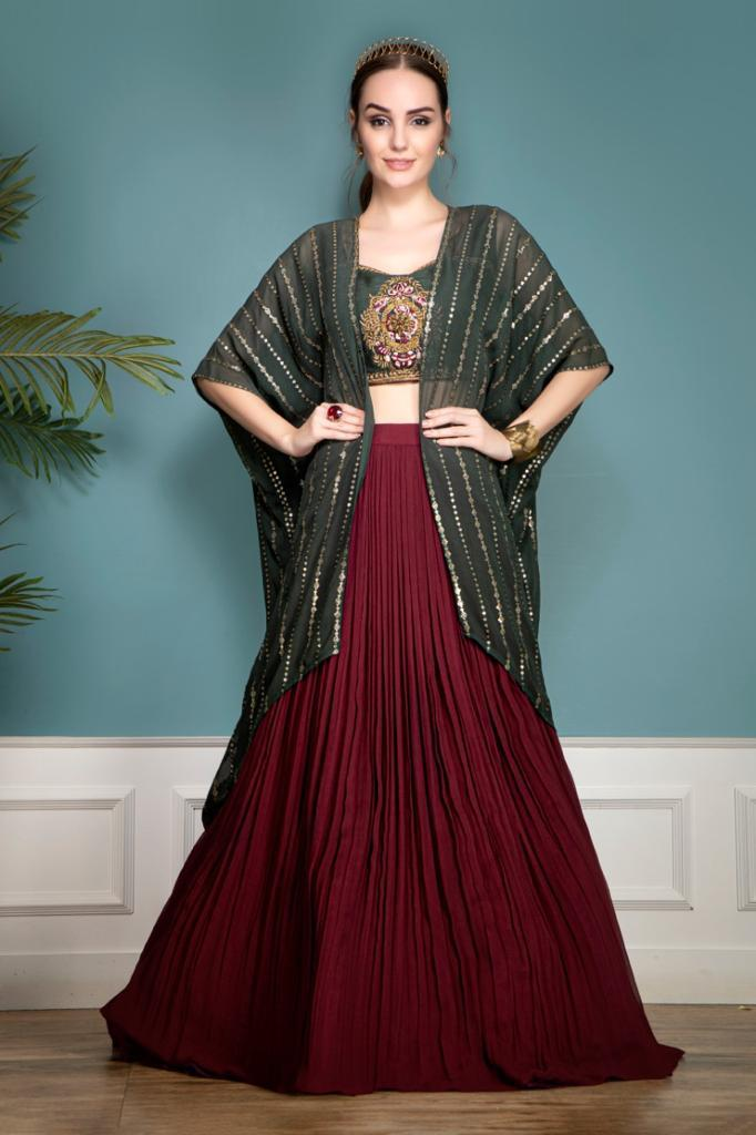 Georgette lehenga with a cape