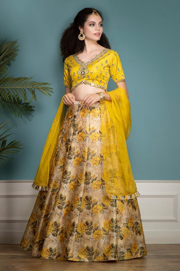 Yellow Organza and Raw Silk skirt top