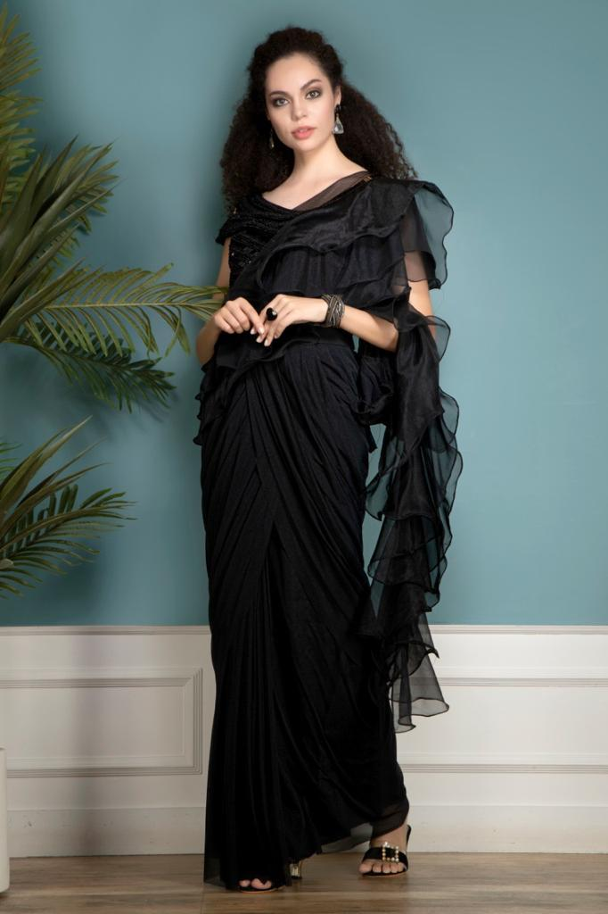Black Ruffle Saree with Stylish Blouse