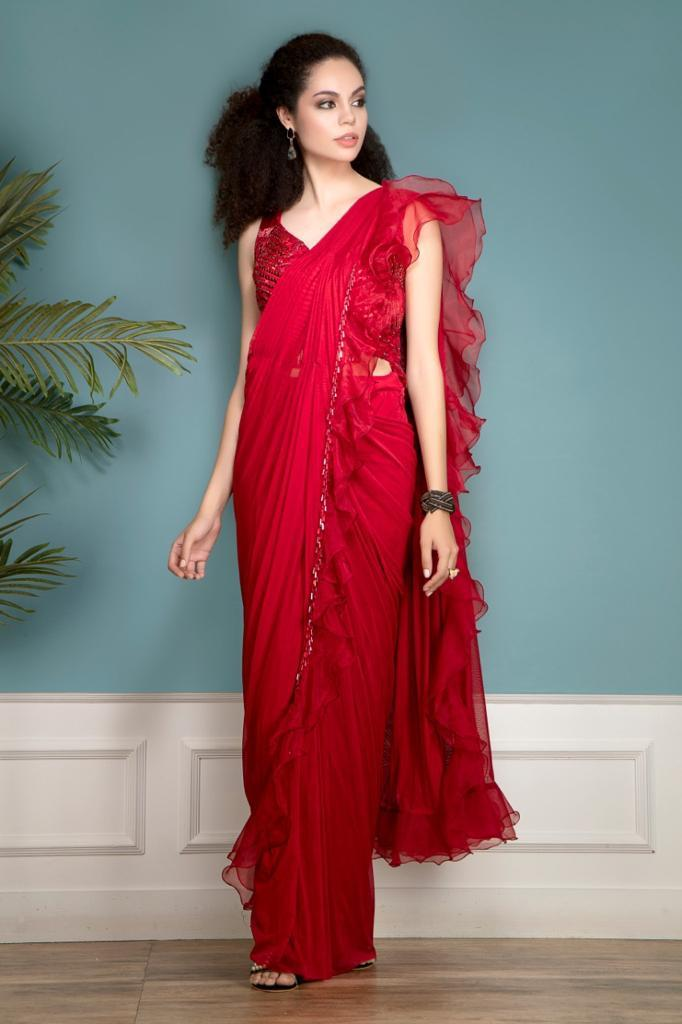 Red Ruffle Saree