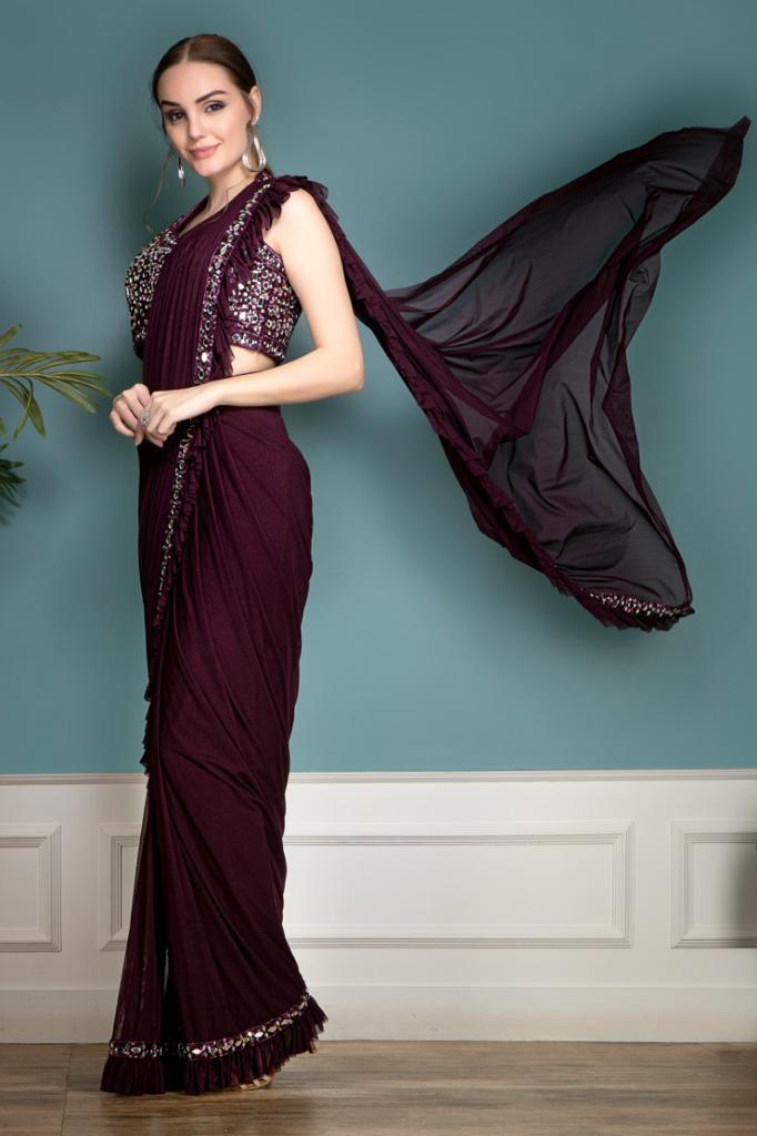 Purple Partywear Saree