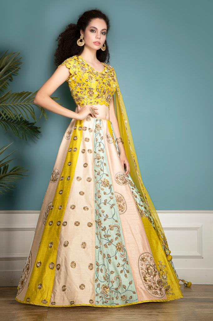 Multicolor lehenga, Top and Scarf