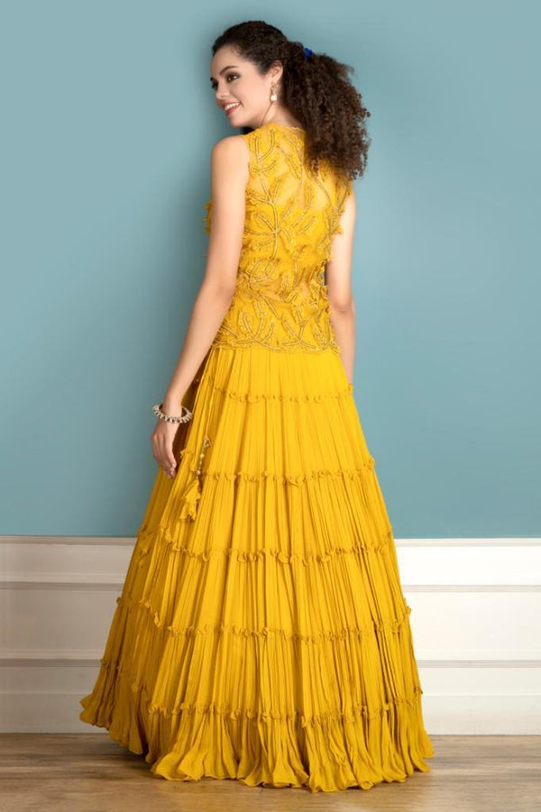 Yellow Lehenga with a short Jacket