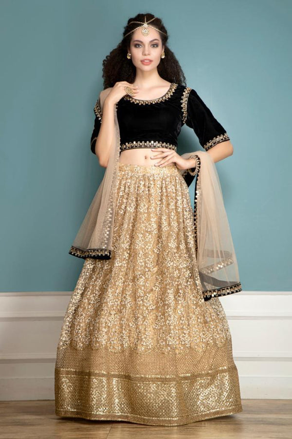 Micro-velvet top and Golden lehenga
