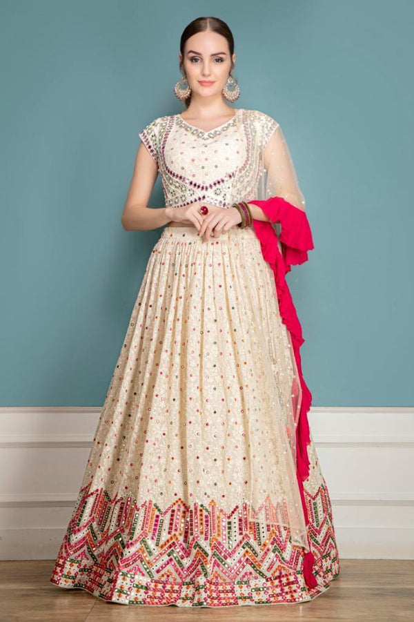 Mutli-thread, Mirror and Tonal work Lehenga with matching Dupatta