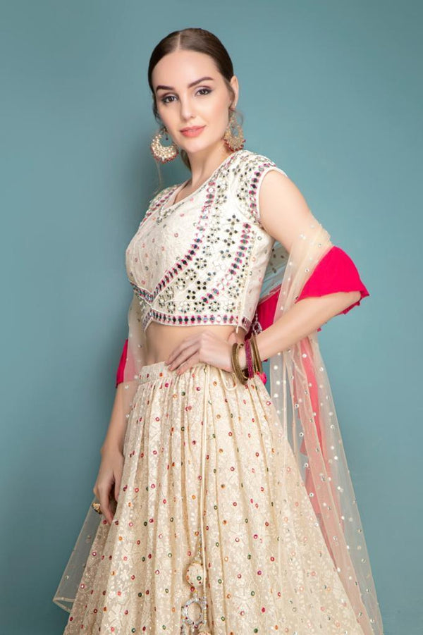 Multi-thread, Mirror and Tonal work Lehenga with matching Dupatta