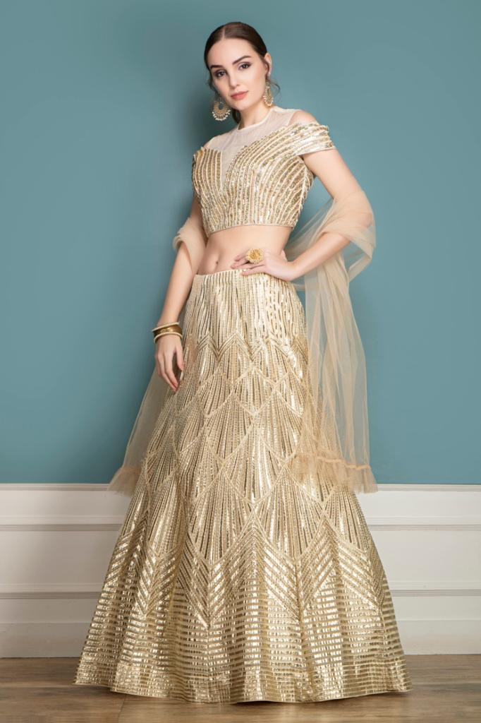 Leather Patch work Lehenga, Choli and Dupatta