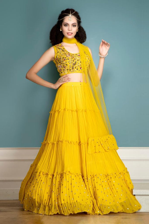 Partywear yellow lehenga and matching dupatta