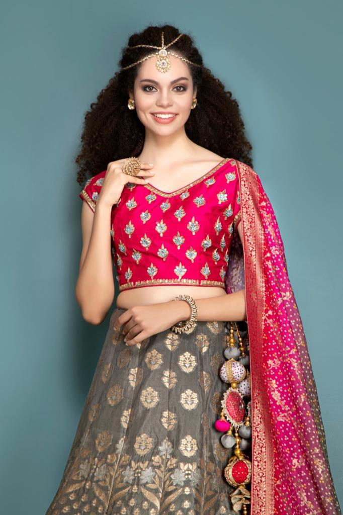 Pink Blouse, Brocade Skirt and Contrast Dupatta