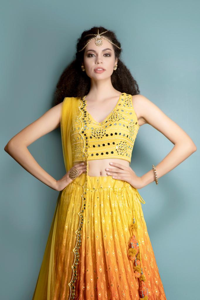 Yellow top, Ombre Chiken Skirt and mirror work scarf