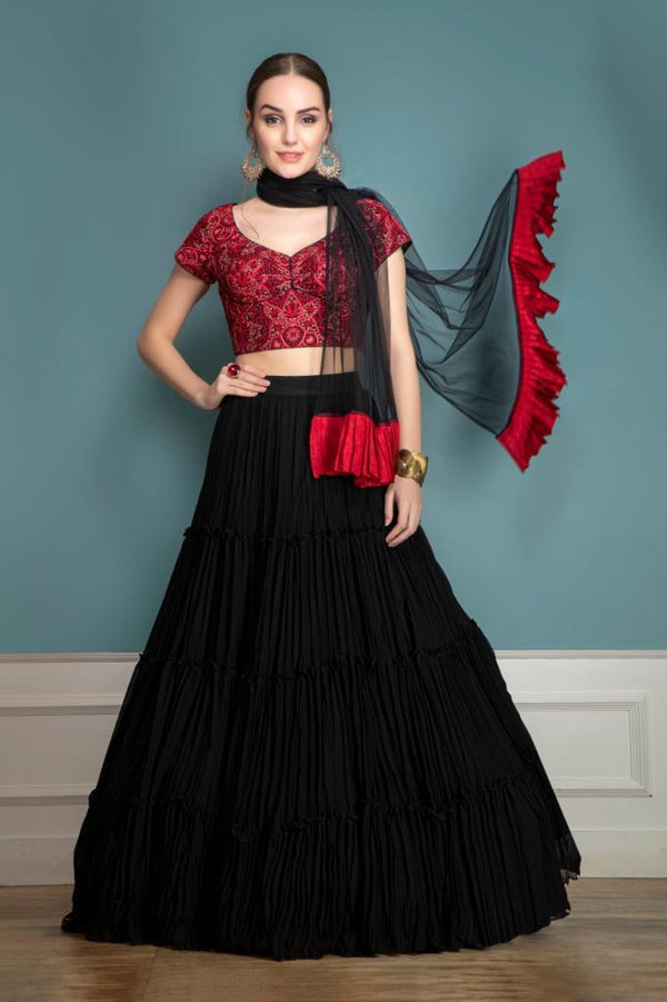 Black Party Wear Lehenga with Threadwork