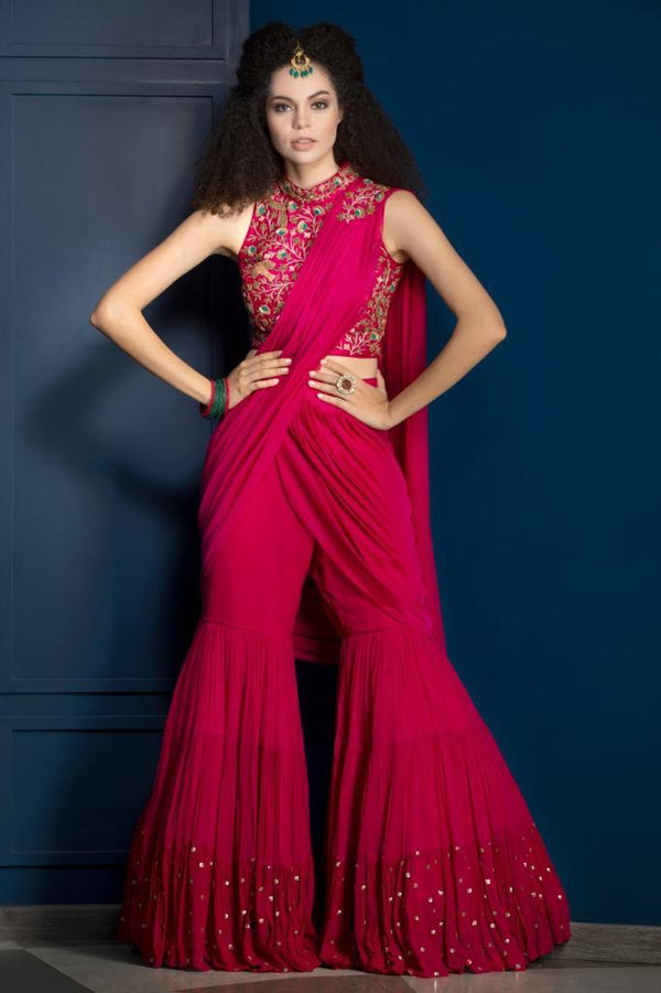 Hot Pink Gharara Saree