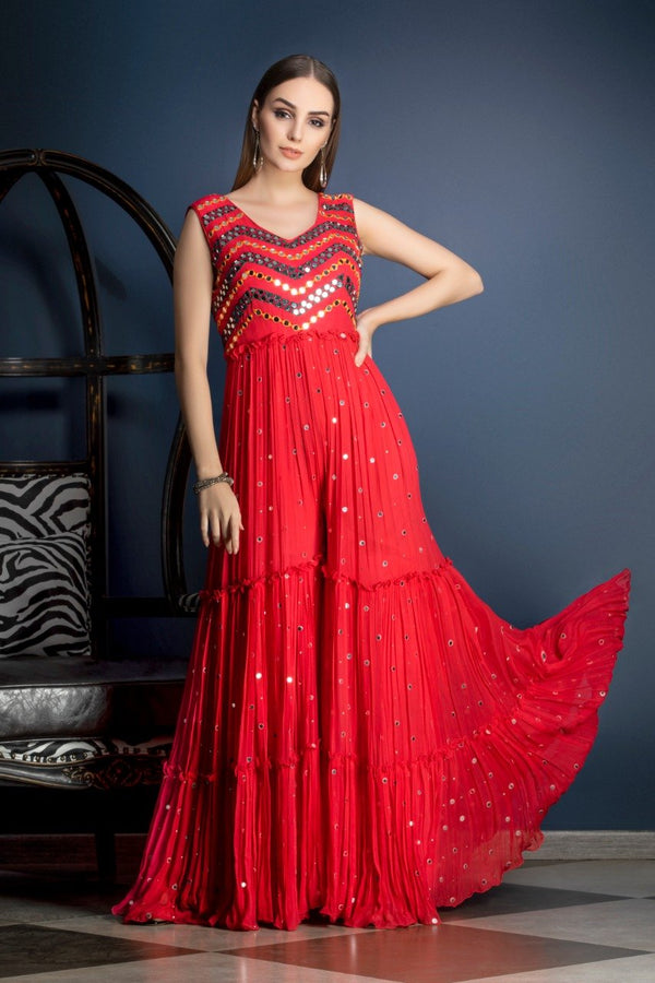 Red Indo-western Jumpsuit with mirror work