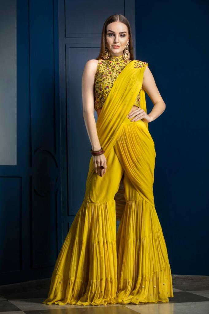 Yellow Gharara Saree