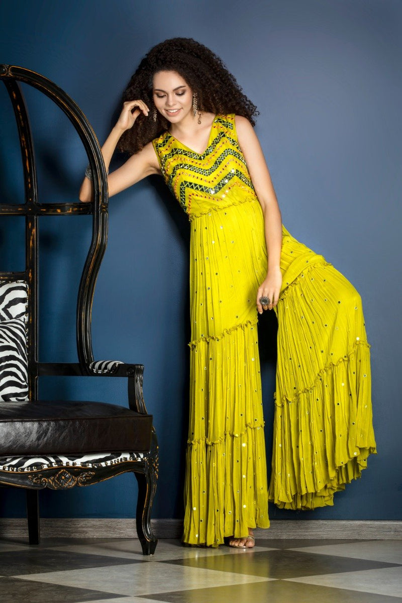 Indo-western Jumpsuit with mirror work