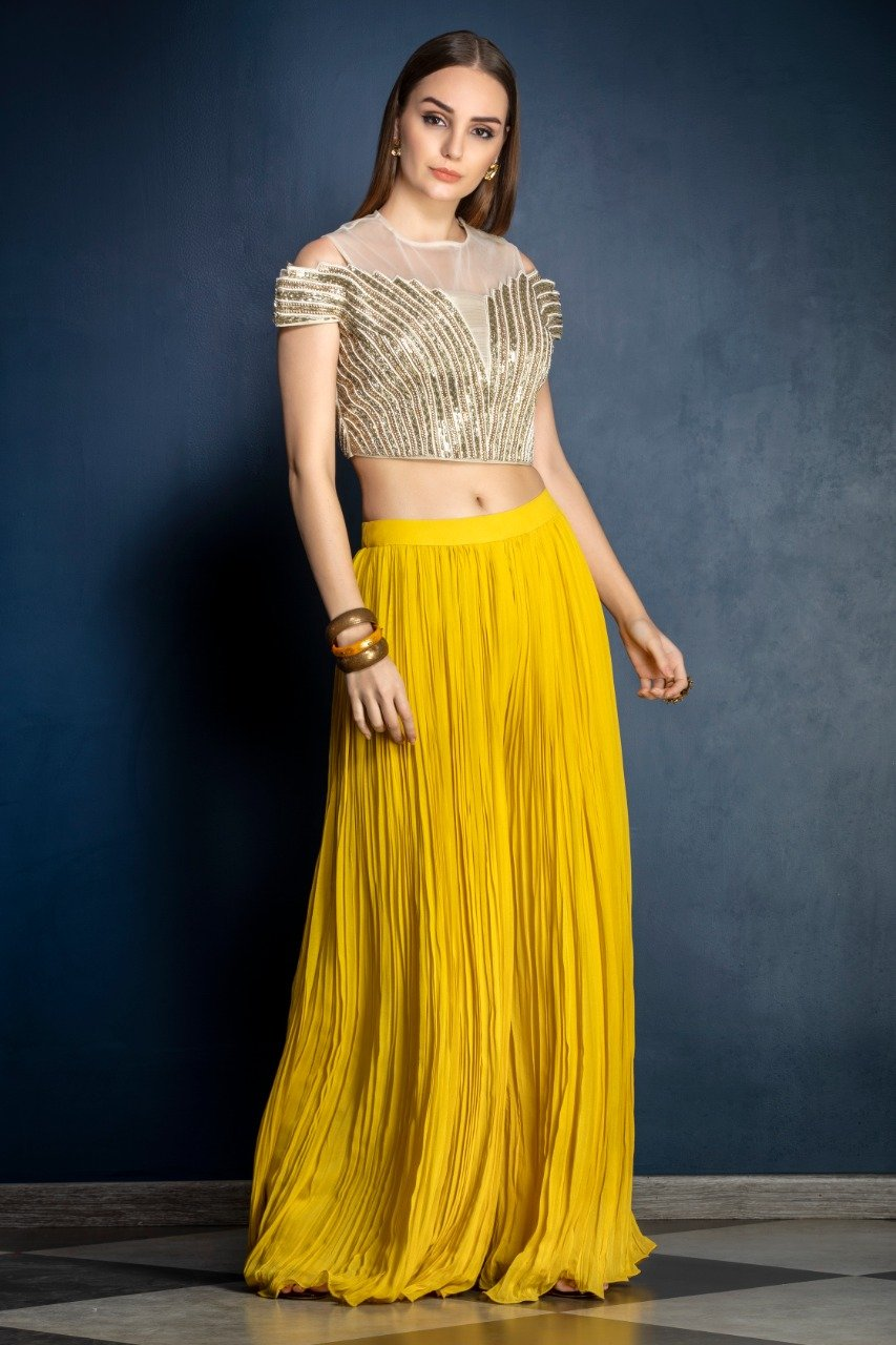Mustard Yellow Sharara with leather patchwork