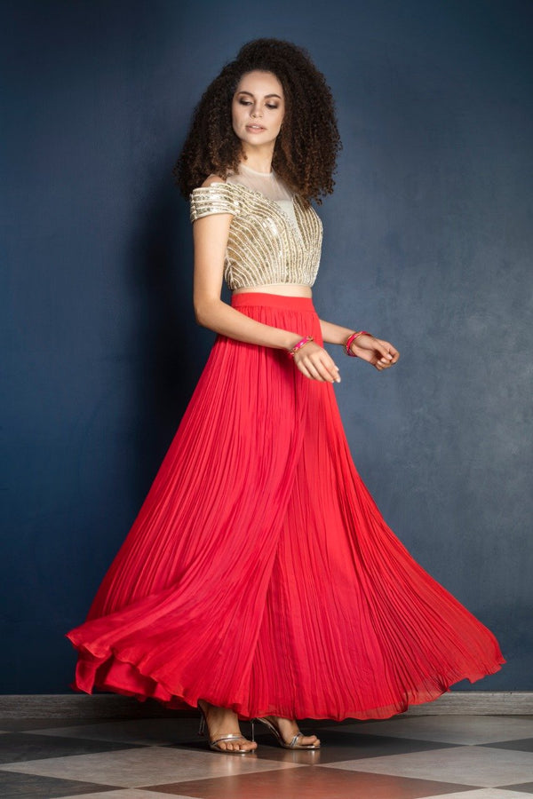 Red color sharara with leather patchwork