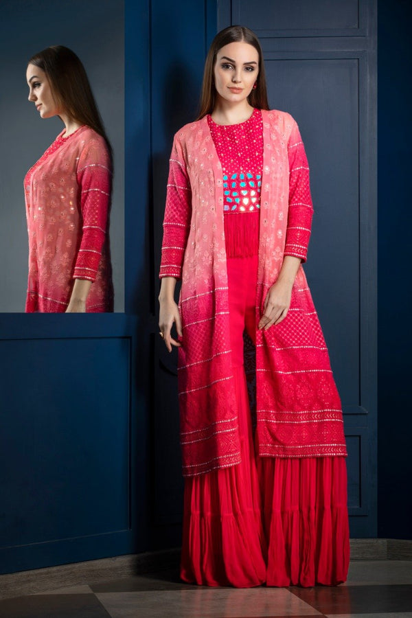 Partywear Gharara with Chikenkari Mirror Work Jacket