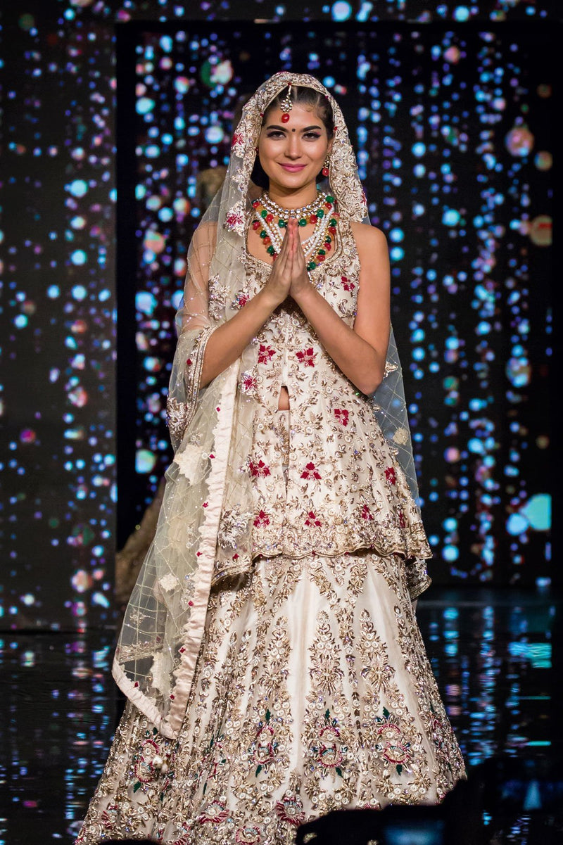Peplum Bridal Lehenga with Zardosi and Threadwork