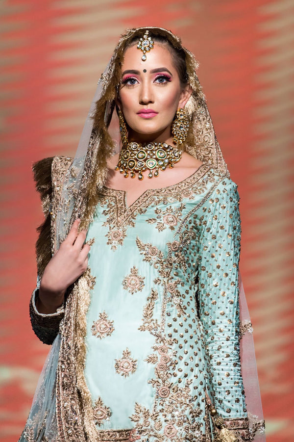 Sky Blue Kameez and Heavy Embroidered Sharara