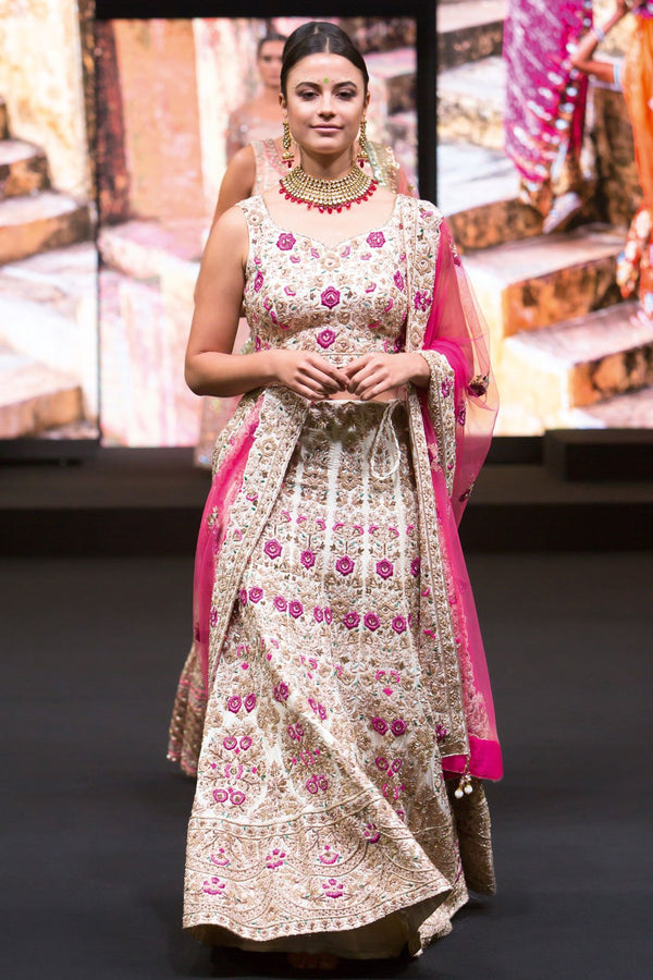 Ivory Bridal Lehenga with Dabka and Zardozi Work