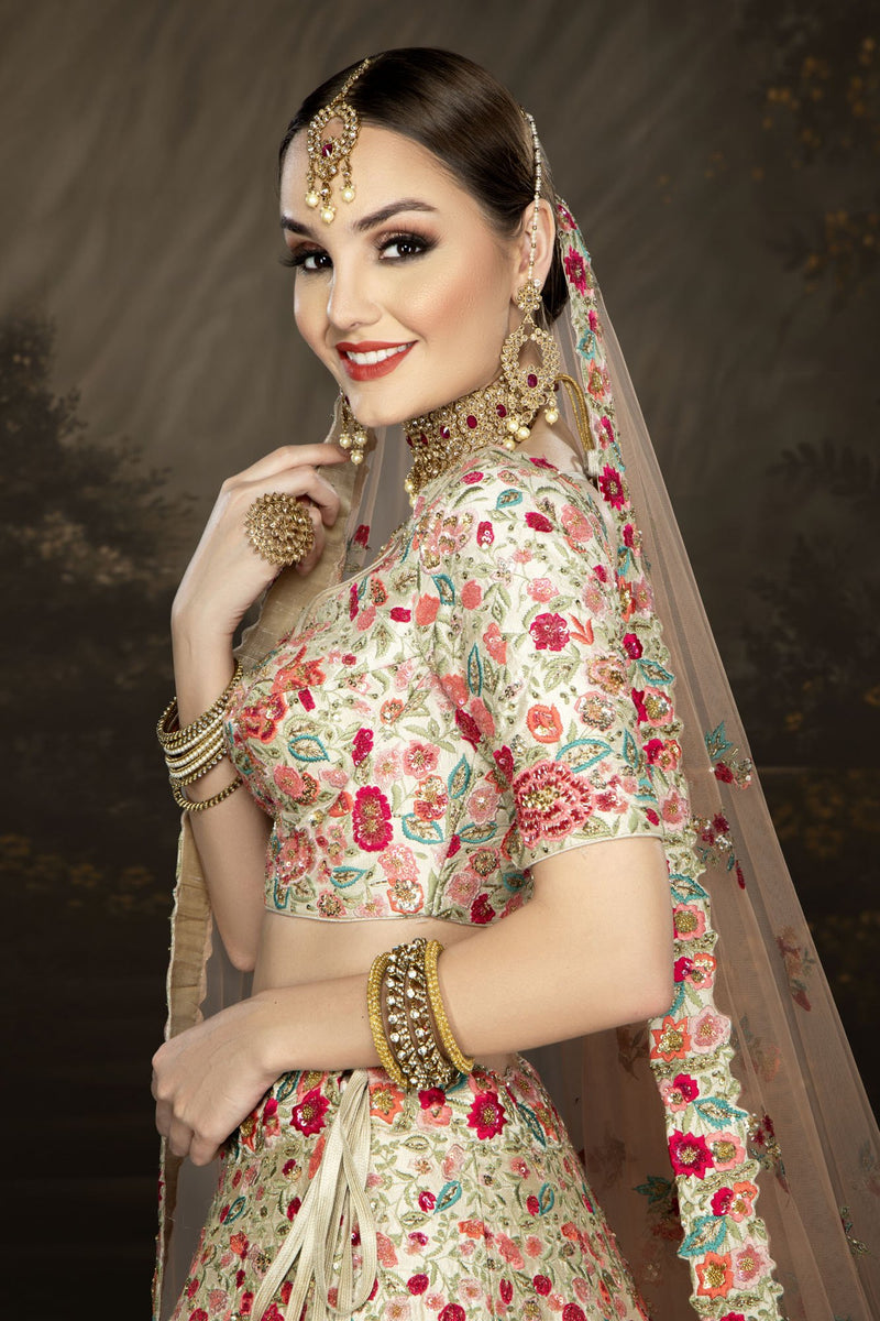 Ivory Bridal with Multicolor thread and Hand Embroidery
