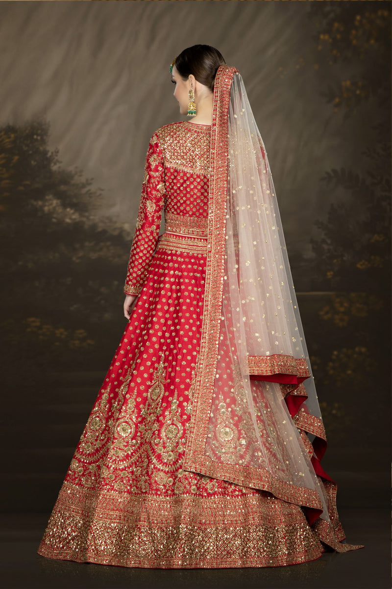 Traditional Red Bridal with a Belt and Contrasting Peach Dupatta