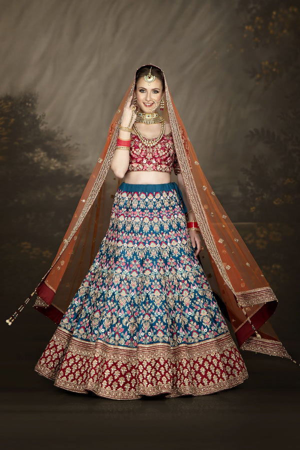 Bright Multicoloured Bridal Lehenga, Contrasting Dupatta