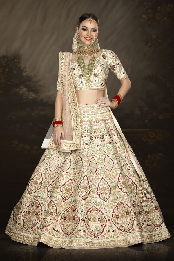 Multi-thread Embroidered Ivory bridal lehenga choli