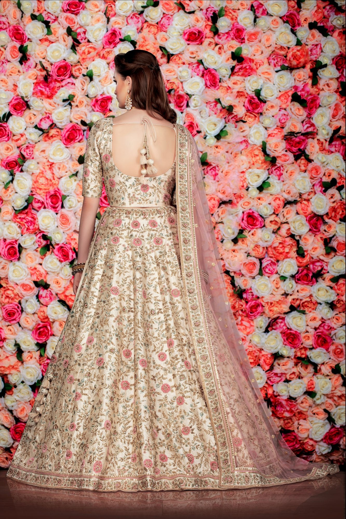 Ivory bridal lehenga with Contrast Peach Dupatta