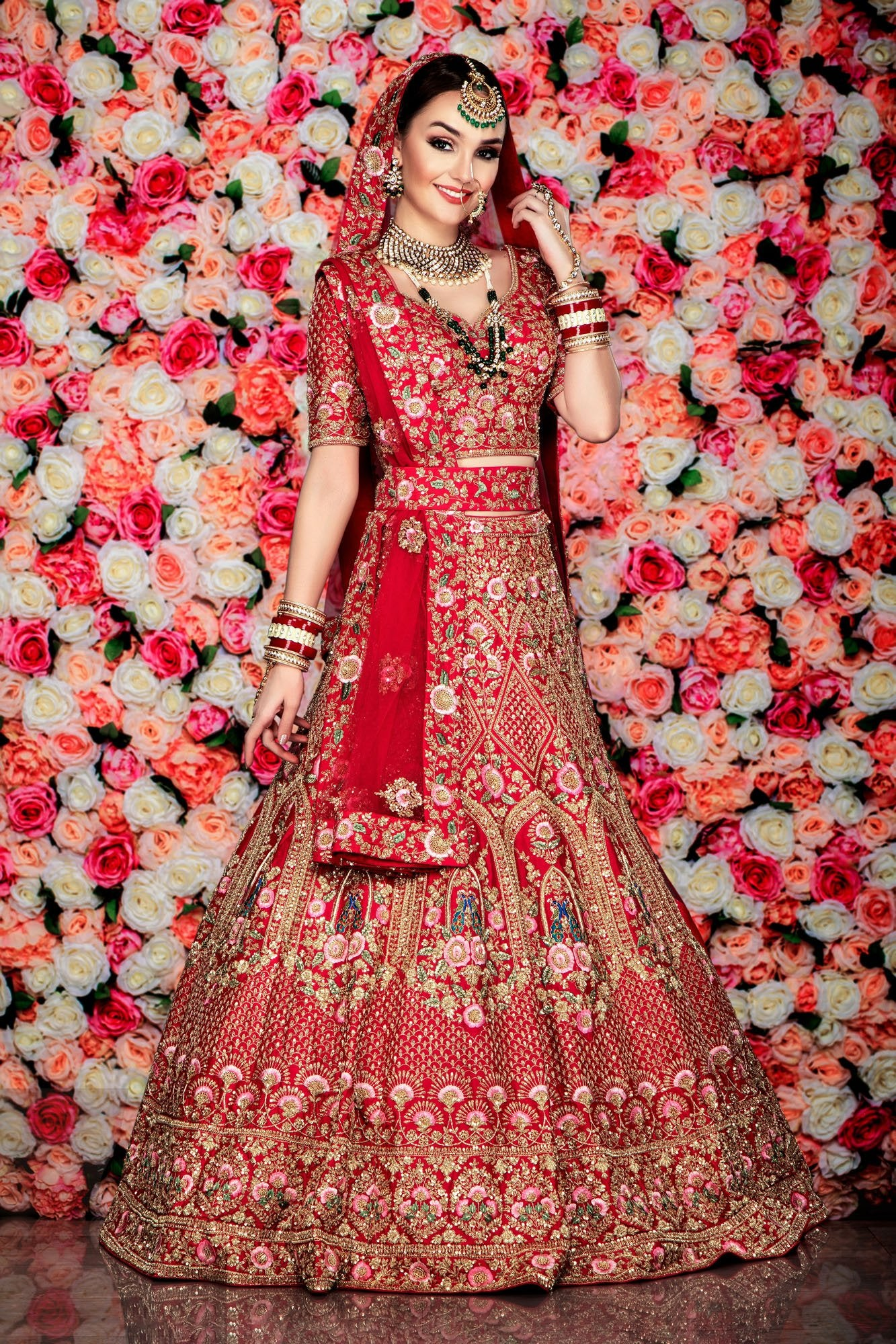 Red Bridal Heavy Embroidered Lehenga with thread work