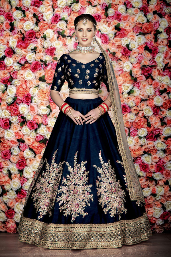 Elegant Navy Bridal Lehenga, Choli and Dupatta