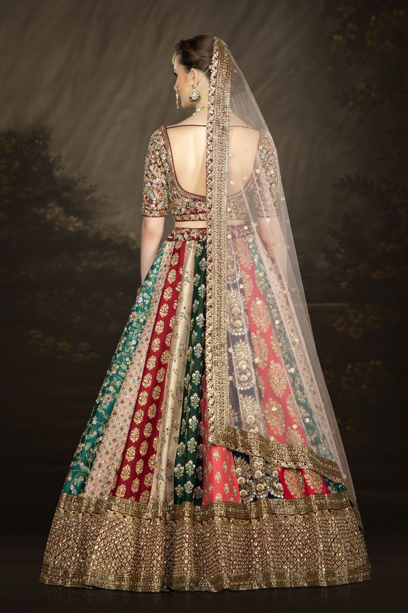 Multi-colored Bridal Lehenga with Intricate Embroidery Work