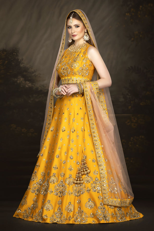 Stylish Raw Silk Yellow bridal Lehenga
