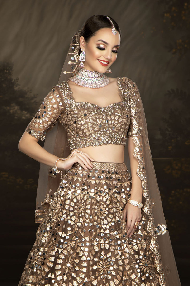 Brown Bridal with Mirrorwork