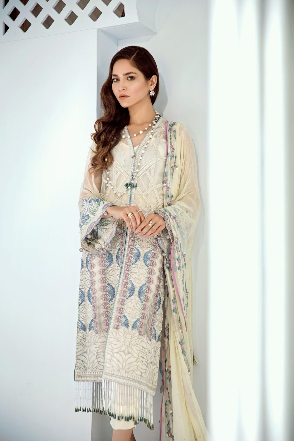 Chiffon Stitched Luxury Suit-4
